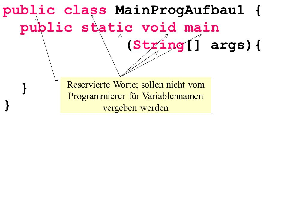 public class MainProgAufbau1 { public static void main (String[] args){